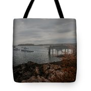 Cape Porpoise Fog Rolls In Tote Bag