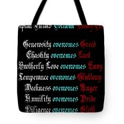 Capital Virtues Overcome Deadly Sins Tote Bag