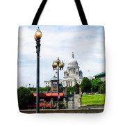 Capitol Building Seen From Waterplace Park Tote Bag by Susan Savad