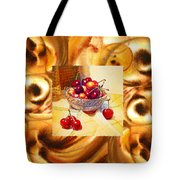 Cappuccino Abstract Collage Cherries Tote Bag