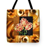 Cappuccino Abstract Collage French Roses Tote Bag