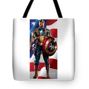 Captain America In Front Of Old Glory Tote Bag