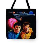 Captain Kirk And Mr. Spock Tote Bag by Robert Steen