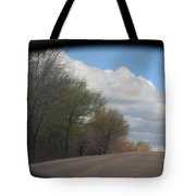 Car Mirror Landscape With Road And Sky. Tote Bag