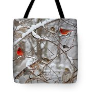 Cardinal Meeting In The Snow Tote Bag