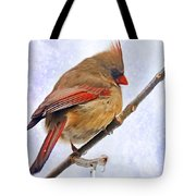 Cardinal On An Icy Twig - Digital Paint Tote Bag