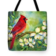 Cardinal On Dogwood Tote Bag