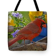 Cardinal With Pansies And Decorations Tote Bag