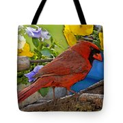Cardinal With Pansies And Decorations Photoart Tote Bag