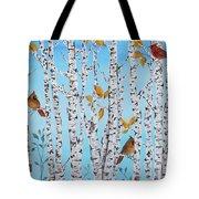 Cardinals Among The Birch-jp2061 Tote Bag