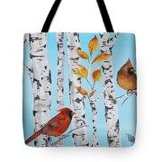Cardinals Among The Birch-d Tote Bag