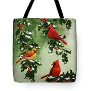 Cardinals And Holly - Version With Snow Tote Bag by Crista Forest