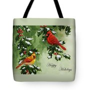 Cardinals Holiday Card - Version With Snow Tote Bag