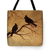 Cardinals Silhouettes Coffee Painting Tote Bag