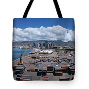 Cargo Containers At A Harbor, Honolulu Tote Bag