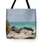 Caribbean Sea And Beach At Tulum Tote Bag