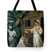 Caribbean Women In Front Of A Hut Tote Bag