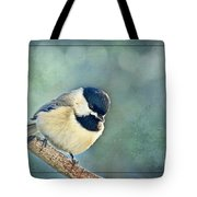 Carlina Chickadee With Soft Blue Bokeh Tote Bag