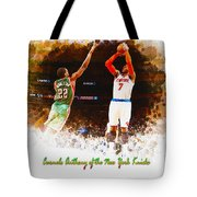 Carmelo Anthony Of The New York Knicks Tote Bag