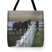 Caro And Her Horses Tote Bag