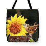 Carolina Wren And Sunflowers Tote Bag