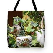 Carolina Wren And Tea Cups Tote Bag