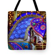 Carousel Beauty Blue Charger Tote Bag