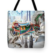 Carousel Horse In Negative Colors Tote Bag