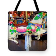 Carousel Horse With Flower Drape Tote Bag