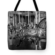 Carousel Horses In Black And White Tote Bag