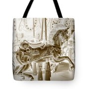 Carousel In Negative Sepia Tote Bag