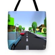 Cars Driving Suburban Streets   Tote Bag