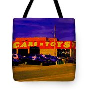 Cars R Toys Evening Rue St.jacques Used Cars Trucks Suvs Montreal Urban Scene Carole Spandau Tote Bag
