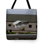 Cartoon - A Bird Perched On A Metal Post Getting Ready To Take Off Tote Bag