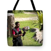 Cartoon - A Trainer And A Large Bird Of Prey At A Show Inside The Jurong Bird Park Tote Bag