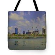 Cartoon - Buildings And Bridge On The Marina Reservoir Tote Bag