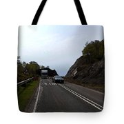 Cartoon - Car And Truck Crossing A Road Repair Section Of Highway In Scotland Tote Bag