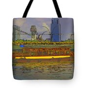 Cartoon - Colorful River Cruise Boat In Singapore Next To A Bridge Tote Bag