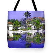 Cartoon - Cottages And Lagoon Water Tote Bag