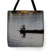 Cartoon - Kashmiri Man Rowing A Small Wooden Boat In The Waters Of The Dal Lake Tote Bag