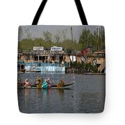 Cartoon - Ladies On 2 Wooden Boats On The Dal Lake With The Background Of Houseboats Tote Bag