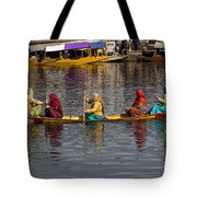 Cartoon - Ladies On A Wooden Boat On The Dal Lake With The Background Of Hoseboats Tote Bag