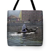 Cartoon - Light Following This Lady On A Wooden Boat On The Dal Lake In Srinagar Tote Bag