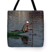 Cartoon - Man Plying A Wooden Boat On The Dal Lake Tote Bag