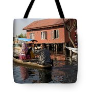 Cartoon - Man Rowing A Family In A Wooden Boat Tote Bag