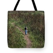 Cartoon - Man Walking Through Tall Grass In The Okhla Bird Sanctuary Tote Bag