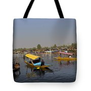 Cartoon - Multiple Number Of Shikaras On The Water Of The Dal Lake In Srinagar Tote Bag