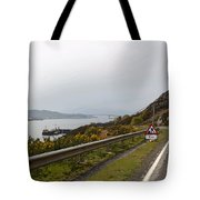 Cartoon - Road Along The Loch Alsh In The Scottish Highlands Tote Bag