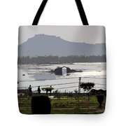 Cartoon - Shalimar Garden - The Dal Lake And Mountains In The Background In Srinagar Tote Bag