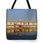Cartoon - Shikara With Tourists Passing In Front Of A Large Houseboat In The Dal Lake Tote Bag